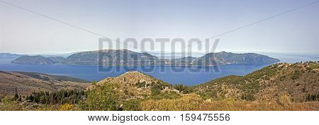 Landscape with sea view, overlooking the island of Ithaca. Ithaca or Ithaka is a mythological Greek island