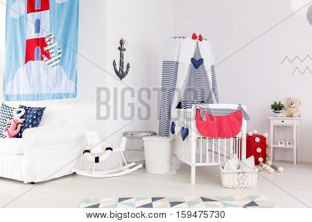 Interior with marine elements for baby child