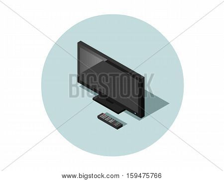 Vector isometric illustration of black flat screen TV with remote controller, television set, electric home equipment icon, 3d flat design object. Isolated HD monitor.