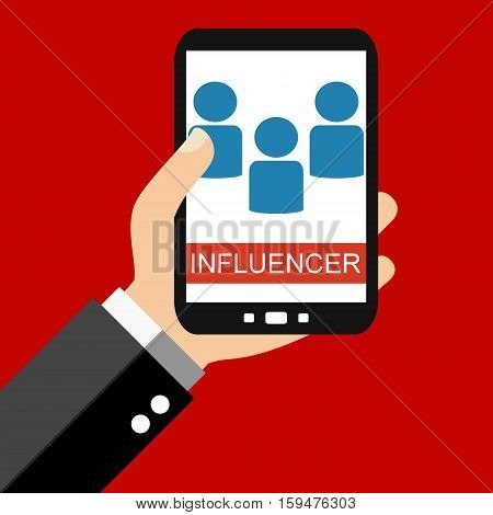 Hand holding Smartphone: Influencer - Flat Design
