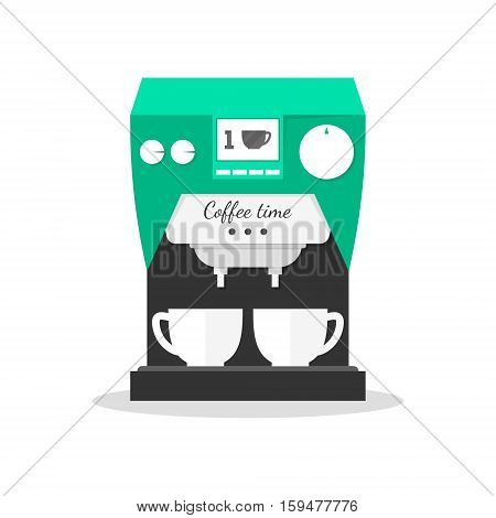 Flat office coffee machine with cups. Home coffee maker icon. Modern design. Kitchen equipment. Vector illustration isolated on white.