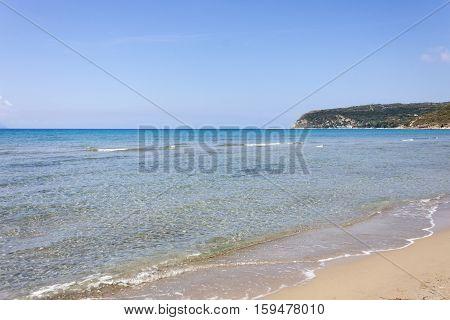 the sea in front of the Kaminia Beach in Kefalonia. Kaminia is the favorite beach of the Loggerhead turtle caretta caretta