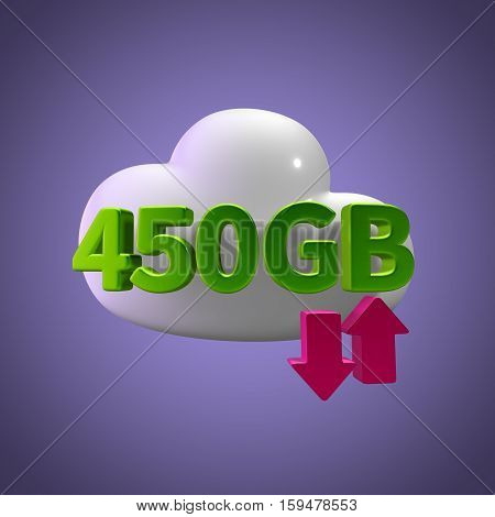 3D Rendering Cloud Data Upload Download illustration 450  GB Capacity