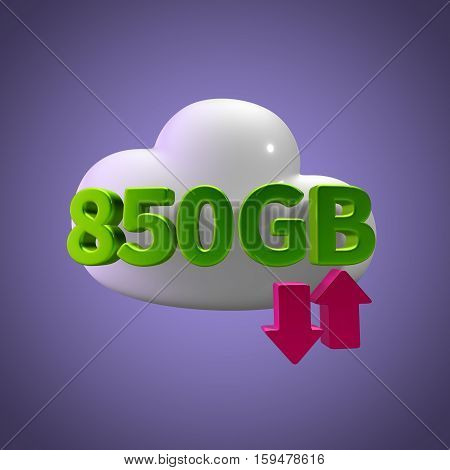 3D Rendering Cloud Data Upload Download illustration 850 GB Capacity