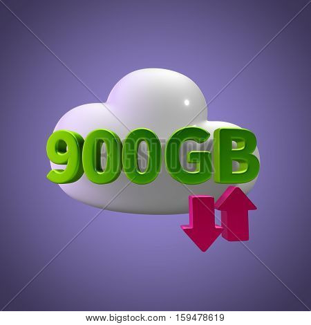 3D Rendering Cloud Data Upload Download illustration 900 GB Capacity