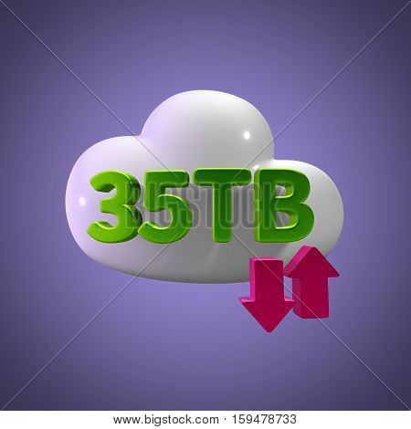 3D Rendering Cloud Data Upload Download illustration 35 TB Capacity