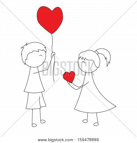 Simple cartoon boy gives a balloon heart girl a childs drawing