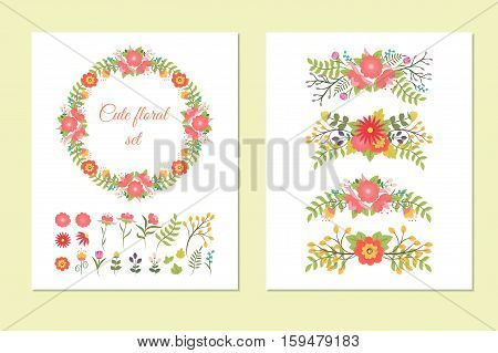 Set of cute doodle wreath borders design elements flowers and leaves for decoration cards wedding invitation postcards party baby shower birthday. Vintage floral template. Vector illustration