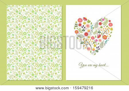Cute vintage floral cards set. Heart shape with flowers and leaves. Beautiful background Cards for greeting invitation wedding party hen-party baby shower mother's day valentines. Gentle vector