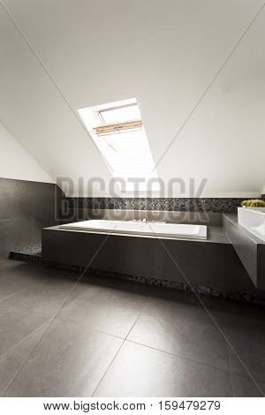 Ascetic Attic Bathroom With Bathtub