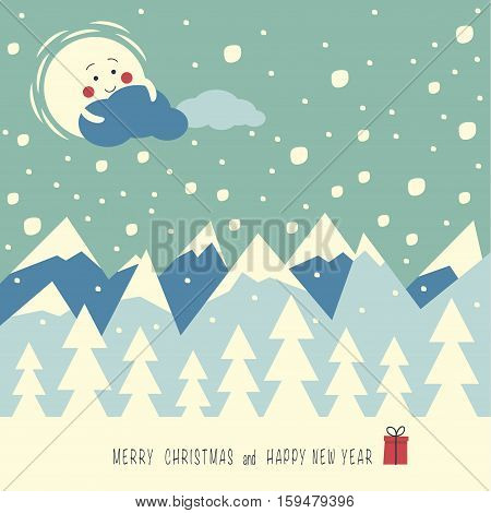 The cover design. Depicts a snow mountains, sun, clouds and christmas trees on the  first plane.  phrase merry Christmas and a happy New year with the gift box.