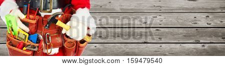 Santa with construction tools