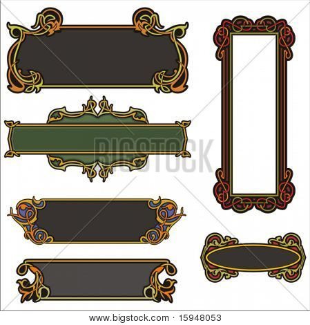 A set of CLEAN and EXQUISITE color panels with ornamental elements. All vectors are ready for vinyl cutting as well.