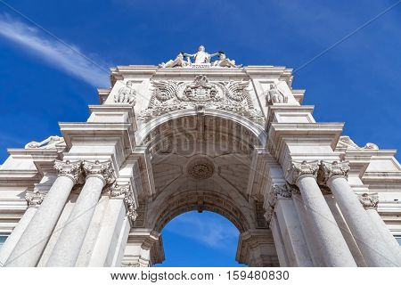Lisbon, Portugal. Looking up at the iconic Augusta Street Triumphal Arch in the Commerce Square, Praca do Comercio or Terreiro do Paco.