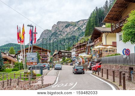 SELVA VAL GARDENA,ITALY - SEPTEMBER 162016 - In the streets of Selva Val Gardena. Selva is a comune in the Val Gardena in South Tyrol.