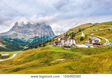 GARDENA PASS,ITALY - SEPTEMBER 16,2016 - View at the Gardena Pass in Dolomites of Italy.Gardena Pass is a high mountain pass in the Dolomites of the South Tyrol with elevation of 2136 m