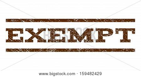 Exempt watermark stamp. Text tag between horizontal parallel lines with grunge design style. Rubber seal brown stamp with dust texture. Vector ink imprint on a white background.