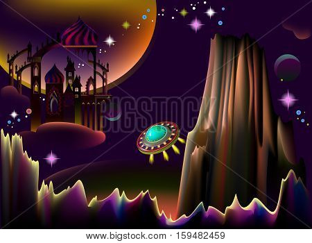 Illustration of fairyland fantasy space landscape with flying saucer. Vector cartoon image.