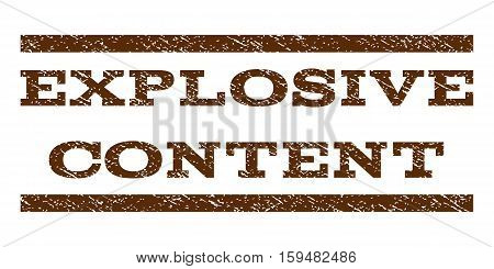 Explosive Content watermark stamp. Text tag between horizontal parallel lines with grunge design style. Rubber seal brown stamp with scratched texture. Vector ink imprint on a white background.