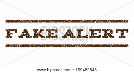 Fake Alert watermark stamp. Text caption between horizontal parallel lines with grunge design style. Rubber seal brown stamp with dust texture. Vector ink imprint on a white background.
