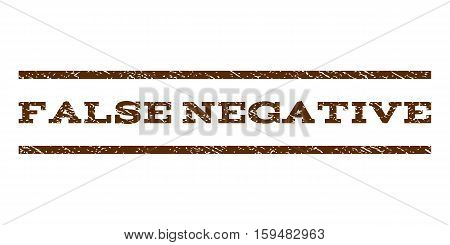 False Negative watermark stamp. Text caption between horizontal parallel lines with grunge design style. Rubber seal brown stamp with dust texture. Vector ink imprint on a white background.