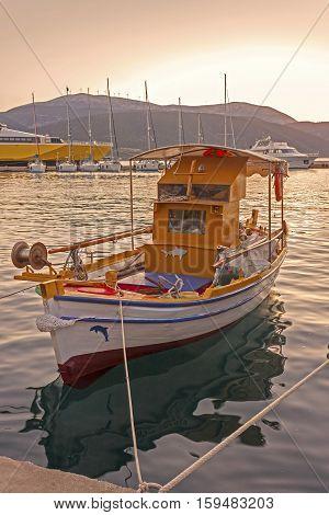 typical Greek fishing boat in Kefalonia Island,