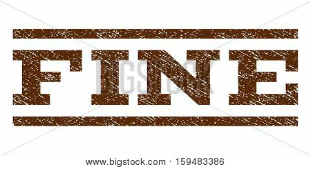 Fine watermark stamp. Text caption between horizontal parallel lines with grunge design style. Rubber seal brown stamp with scratched texture. Vector ink imprint on a white background.