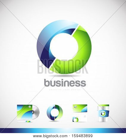 Corporate business 3d circle green blue vector logo icon sign design template identity
