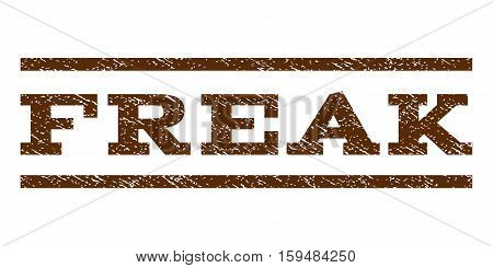 Freak watermark stamp. Text tag between horizontal parallel lines with grunge design style. Rubber seal brown stamp with dust texture. Vector ink imprint on a white background.