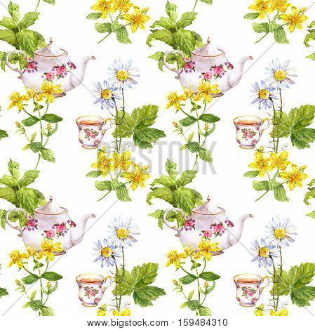 Medical herbal tea. Repeating pattern: medicinal herbs chamomile, mint, hypericum , tea pot teacup Watercolour