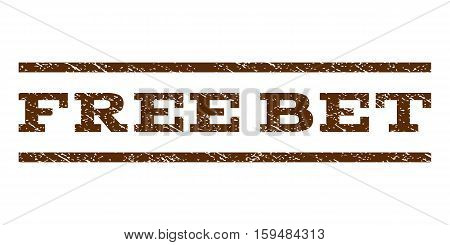 Free Bet watermark stamp. Text caption between horizontal parallel lines with grunge design style. Rubber seal brown stamp with dust texture. Vector ink imprint on a white background.