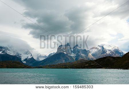 Scenic Landscape With Cuernos Del Paine, Torres Del Paine National Park