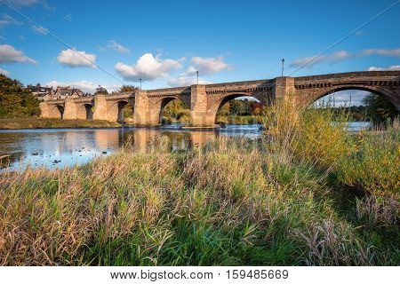 River Tyne under Corbridge Road Bridge, originally built in othe thirteenth century, the bridge at Corbridge allows crossing of the River Tyne