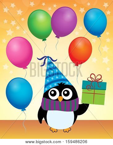 Party penguin theme image 4 - eps10 vector illustration.