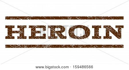 Heroin watermark stamp. Text tag between horizontal parallel lines with grunge design style. Rubber seal brown stamp with dust texture. Vector ink imprint on a white background.