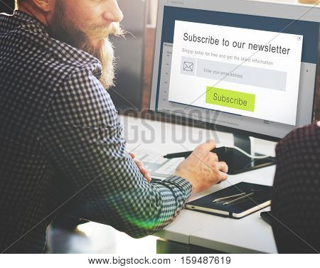 Subscribe Newsletter Advertising Register Member Concept