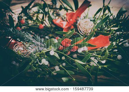 Christmas  mistletoe and american flag. Christmas decoration.