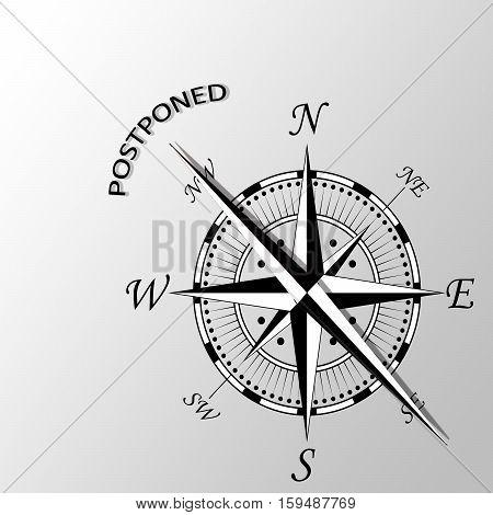 Illustration of Postponed word written aside compass