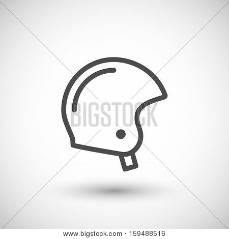 Retro motorcycle helmet line icon isolated on grey. Vector illustration