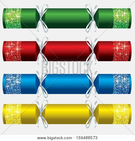 Glitter Christmas Crackers In Vector Format.