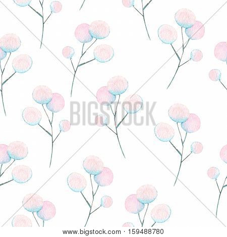 Seamless floral pattern with the watercolor abstract fluff branches, hand drawn on a white background