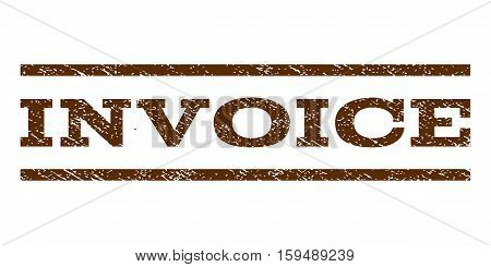 Invoice watermark stamp. Text caption between horizontal parallel lines with grunge design style. Rubber seal brown stamp with dirty texture. Vector ink imprint on a white background.