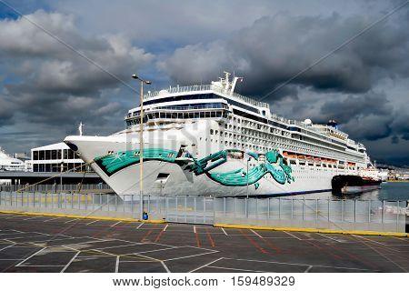 PIRAEUS GREECE - November 15 2016: Cruise ship Norwegian Jade entering Piraeus port on November 15 2016. Norwegian Jade is 93.558 GRT 294m long has a capacity of 2.224 passengers and 1.100 crew.