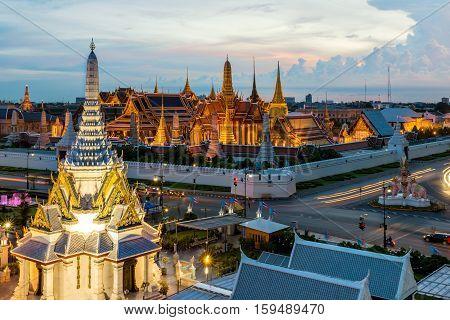 Wat Phra Kaew Temple of the Emerald Buddha Bangkok Thailand. Wat Phra Kaew is famous temple in Thailand.