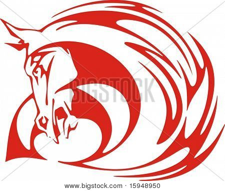Flaming horse vector illustration, great for vehicle graphics, stickers and T-shirt designs. Ready for vinyl cutting.