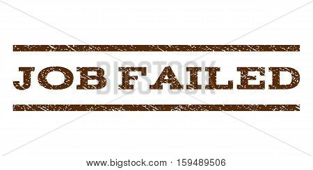Job Failed watermark stamp. Text tag between horizontal parallel lines with grunge design style. Rubber seal brown stamp with dust texture. Vector ink imprint on a white background.