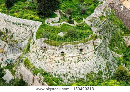 Aerial view. The loopholes of Palamidi Fortress Nafplio Greece.