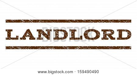 Landlord watermark stamp. Text caption between horizontal parallel lines with grunge design style. Rubber seal brown stamp with unclean texture. Vector ink imprint on a white background.