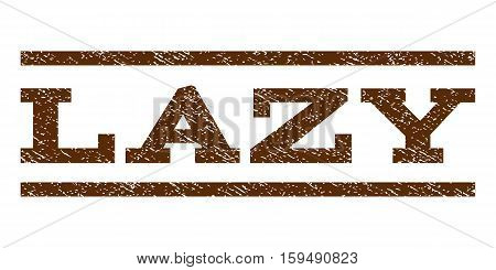 Lazy watermark stamp. Text tag between horizontal parallel lines with grunge design style. Rubber seal brown stamp with unclean texture. Vector ink imprint on a white background.