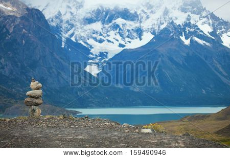 Stacked Stowns In Torres Del Paine National Park Of Chile, South America
